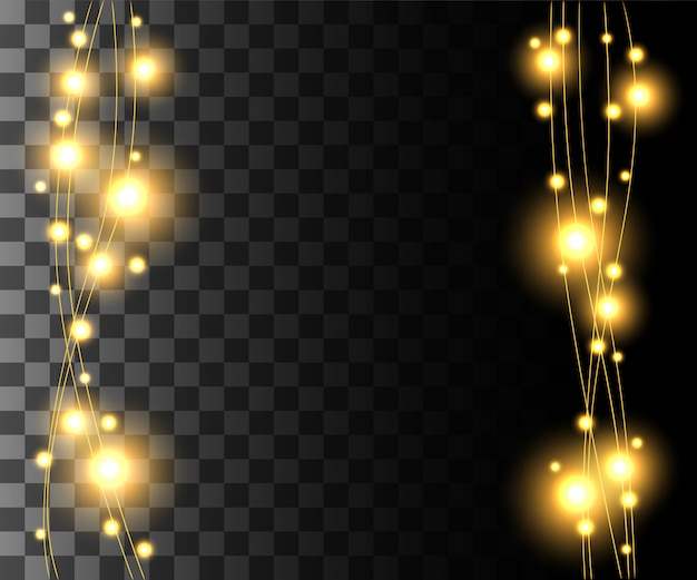 Vertical glowing light yellow bulbs  for holidays garlands christmas decorations effect  on the transparent background website page game and mobile app design