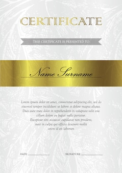Vertical gold certificate and diploma template
