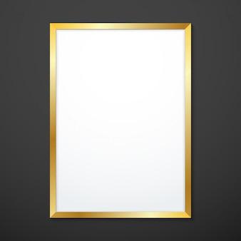 Vertical gold texture frame mockup