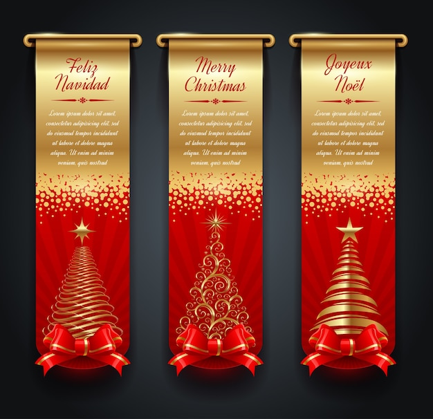 挨拶、クリスマスツリー、蝶結び付きの垂直の金色のバナー。
