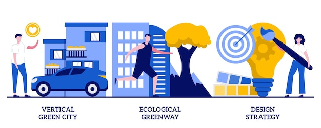 Vertical green city, ecological greenway, design strategy concept with tiny people. environmental urban solutions vector illustration set. space-saving eco solution, landscape ecology metaphor.