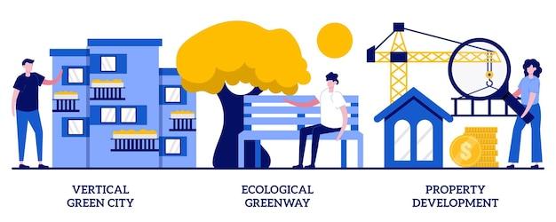 수직 녹색 도시, 생태 녹색 도로, 작은 사람들과 함께하는 부동산 개발 개념. 아키텍처 혁신 벡터 일러스트 레이 션을 설정합니다. 비용 효율적인 건설, 조경 계획 은유.