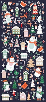 Vertical greeting banner with different christmas elements isolated on navy background. vector illustration.