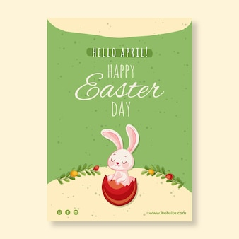 Vertical greeting card template for easter with bunny and carrot