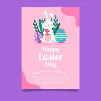 Vertical greeting card template for easter with bunny and eggs