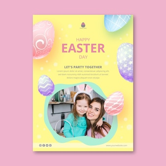 Vertical greeting card template for easter with mother and daughter