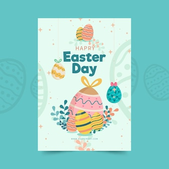 Вертикальный шаблон поздравительной открытки на пасху с яйцами