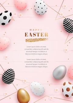 Вертикальный шаблон поздравительной открытки на пасху с реалистичными яйцами