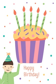Vertical greeting card template with happy birthday wish, cute boy holding giant cupcake decorated with candles and colorful festive confetti on background. vector illustration in flat cartoon style.
