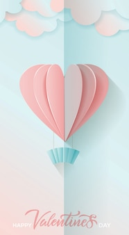 Vertical greeting card for valentines day with lettering and flying paper cut hearts