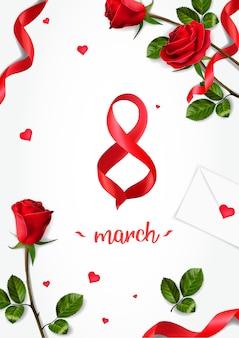 3月8日までのリアルなバラのある垂直グリーティングカード