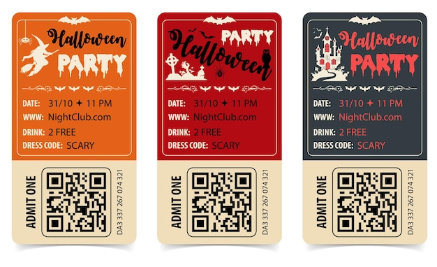 성, 마녀, 박쥐, 좀비, 할로윈 글자가 있는 세로 할로윈 파티 포스터. 고립 된 벡터 일러스트 레이 션