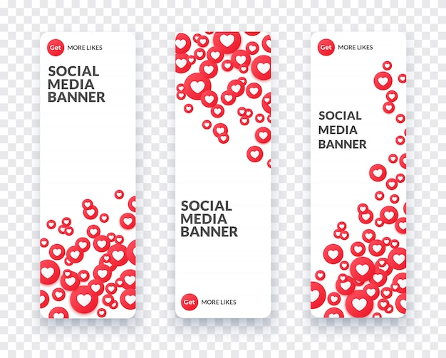 Vertical heart social media banner set for streaming, chat and videochat. like symbol and heart icon  and banner in flat style with shadow.  illustration.