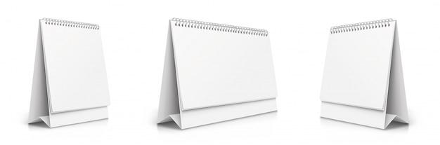 Vertical and horizontal set realistic paper calendar blank. calendars of different sizes. desktop tipping calendars