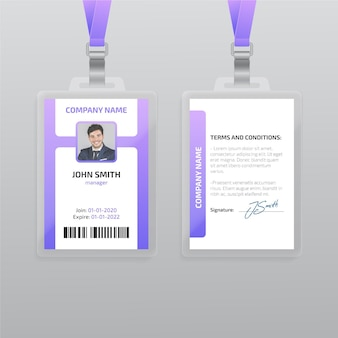 Vertical id card template with photo