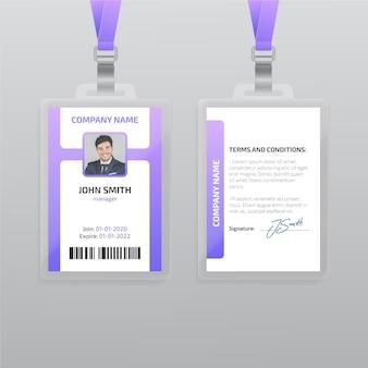 Modello di carta d'identità verticale con foto
