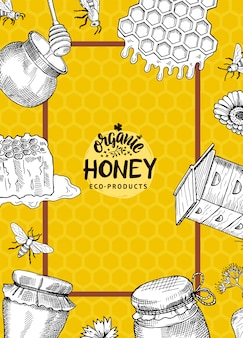Vertical illustration or flyer template with hand drawn honey elements for honey farm or shop with logo and frame on honeycombs background