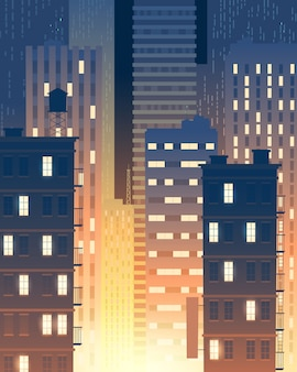 Vertical illustration of modern buildings at night, lights from windows.
