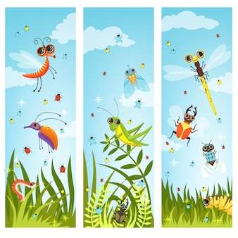 Vertical illustrations of cartoon insects. insect in green nature, butterfly and dragonfly vector