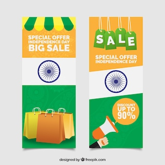 Vertical indian independence day sale banners