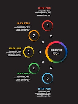 Vertical infographic template with five multicolor round elements on a black background