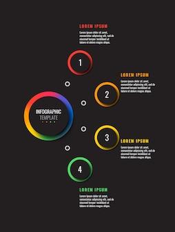 黒の背景に4つの多色の丸い要素を持つ垂直インフォグラフィックテンプレート
