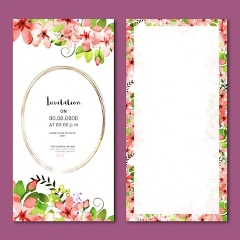 수채화 꽃으로 수직 초대 카드입니다.