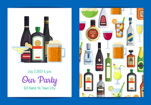 Vertical invitation template for adult party with alcoholic drinks in glasses and bottles in flat style