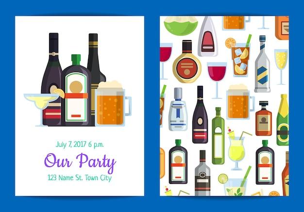 평면 스타일의 안경과 병에 알코올 음료와 함께 성인 파티를위한 수직 초대장 템플릿