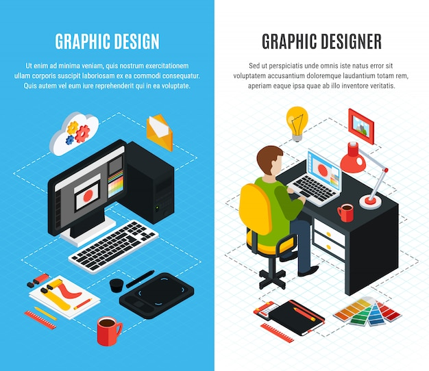 Vertical isometric banners set with tools for graphic design and designer at work 3d isolated vector illustration
