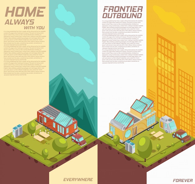 Vertical isometric banners with advertising of mobile house on background with mountains, city buildings isolated vector illustration