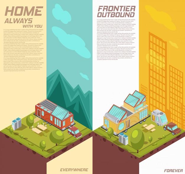 山、都市の建物の分離ベクトル図を背景にモバイルハウスの広告と垂直等尺性バナー