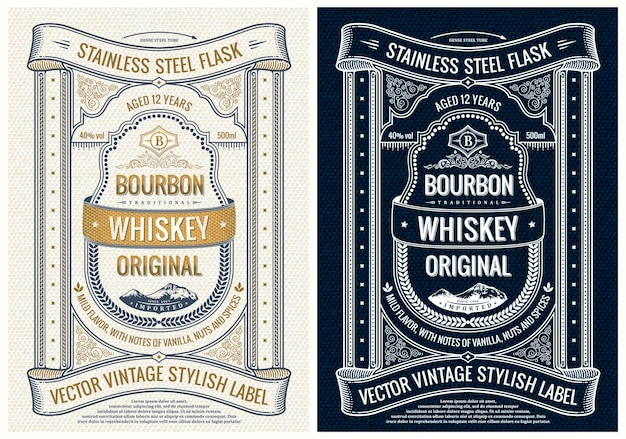 병 포장 또는 책 표지 프레임 디자인을 위한 수직 라벨