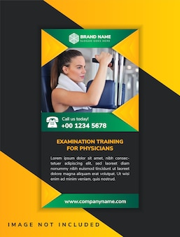 Vertical layout of banner design template for examination training for physicians octagon shape