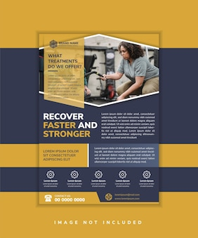 Vertical layout of flyer design template for recover faster and stronger hexagon shape for space