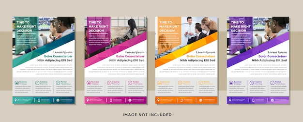 Vertical layout modern business flyer design with polygonal pattern using blue, pink, purple, orange and green colors