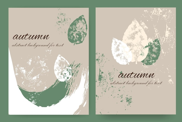 Vertical layouts with an autumn design in the grunge style. paint with splashes,spots and autumn leaves. abstract background for the text.