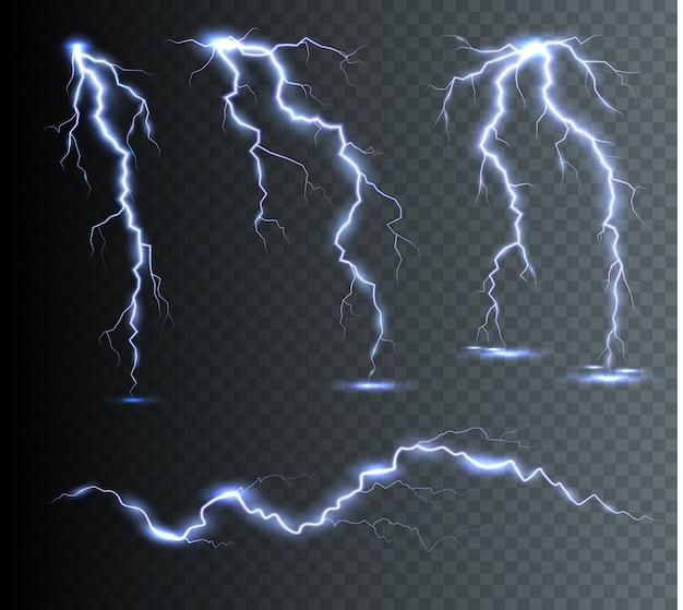 Вертикальные молнии в небе. эффект свечения и искры. гром и гроза