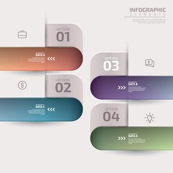 Вертикальный список инфографических элементов шаблона макета визуализации бизнес-данных с 4-х шаговой схемой