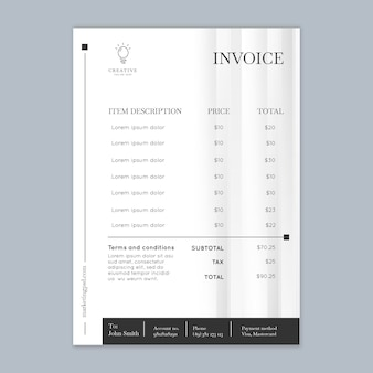 Vertical marketing business invoice template