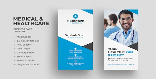 Vertical medical business card