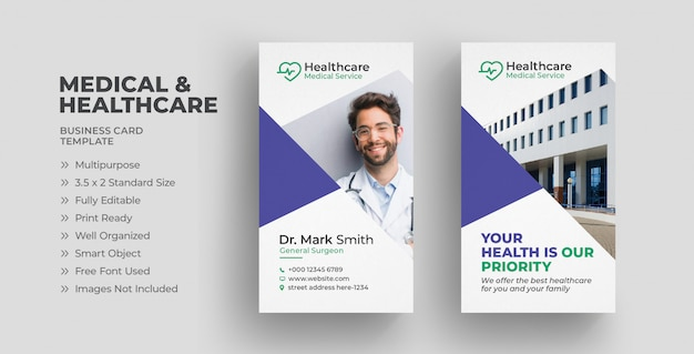 Vertical medical healthcare business card