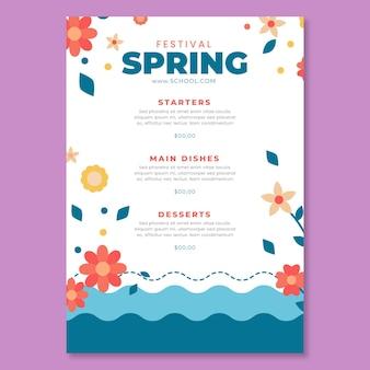 Modello di menu verticale per la primavera Vettore gratuito