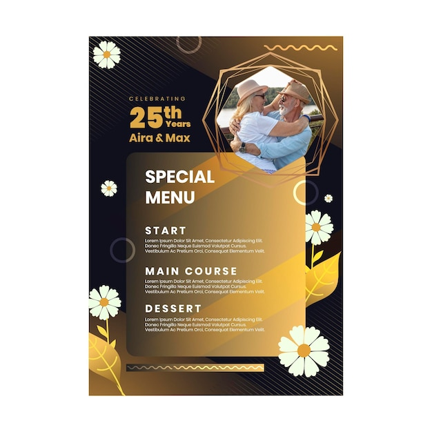 Vertical menu template for twenty-five years anniversary with flowers