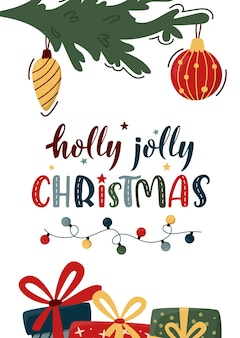 Vertical merry christmas card with decorated fir tree branches, gift boxes and xmas lettering.
