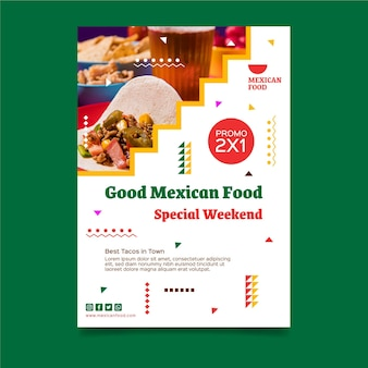 Modello di poster verticale cibo messicano