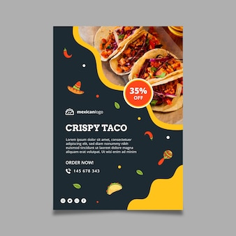 Vertical mexican food poster template