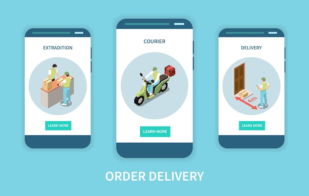 Vertical mobile website banners set with extradition of order and courier delivering Premium Vector