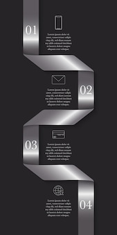Vertical modern timeline infographic ribbon concept with 4 steps and place for text