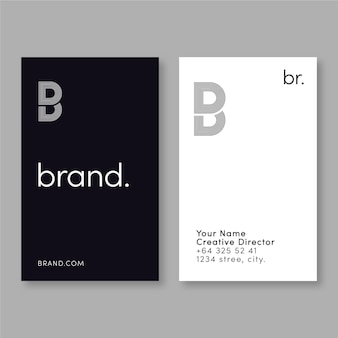 Vertical monochrome business cards set